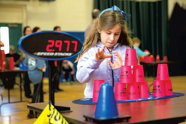 Third grader Juniper Galvani at the Vermont Family StackFest - SHEM ROOSE