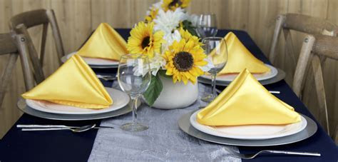 Canary Yellow, Navy Blue, and Silver Table Linens for Your