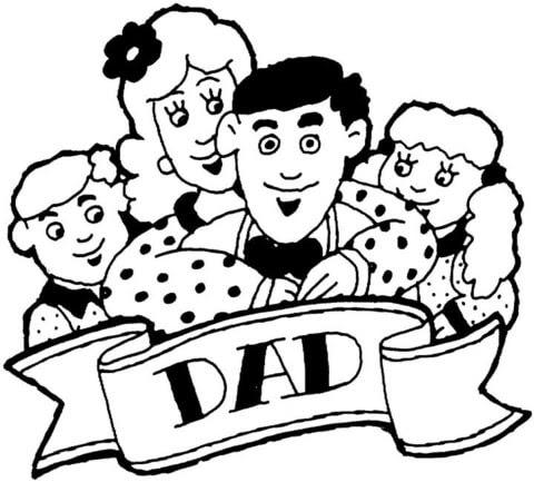 Dibujo De La Familia Al Completo Celebra El Día Del Padre Para