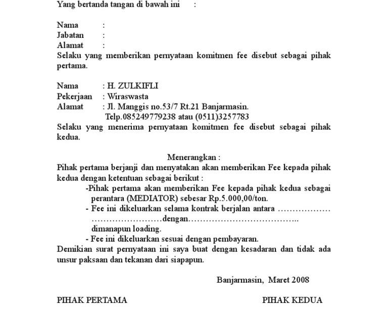 56 Download Surat Perjanjian Fee Jual Beli Tanah Pdf Doc 2019