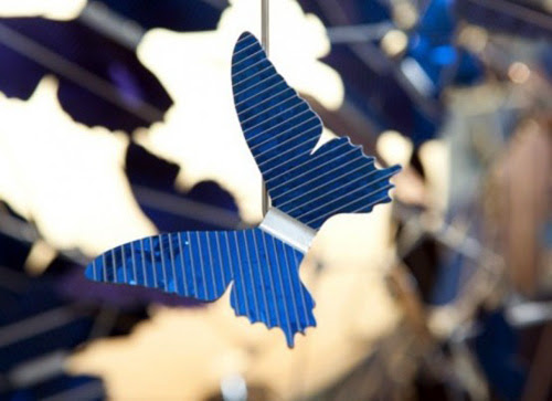 blue solar chandelier