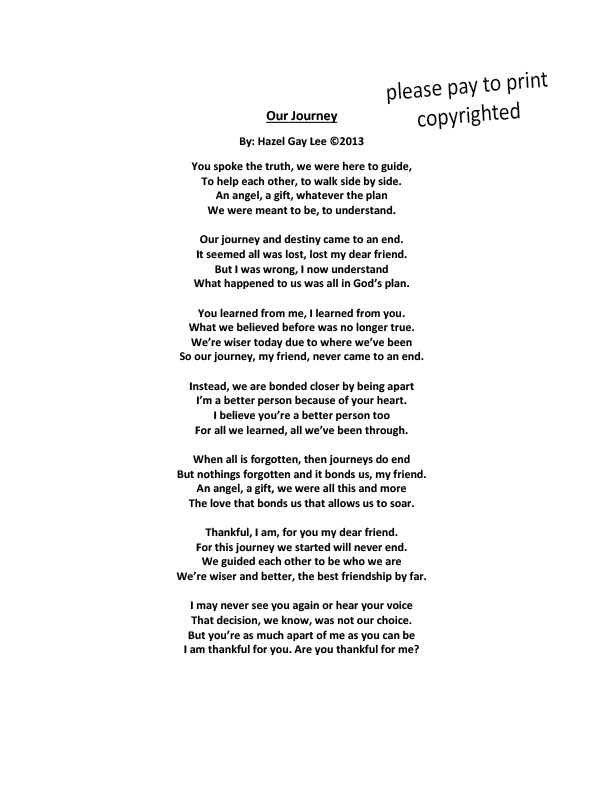 Hazelgaylee Our Journey Poem About Loving Someone Who Makes Us A