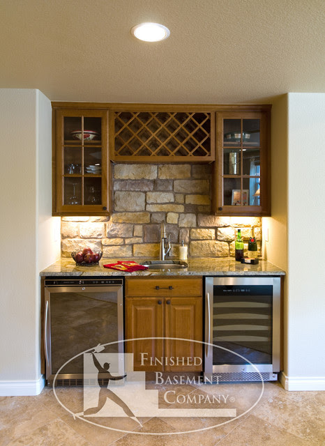 Basement Wet Bar - traditional - basement - denver - by Finished ...