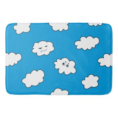 Blue Sky Cartoon Funny Clouds Bath Mats