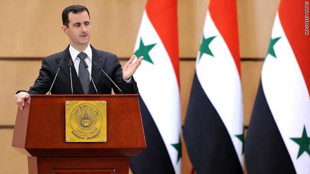 Syrian President Bashar al-Assad gives a speech at Damascus University in Syria on June 20, 2011.