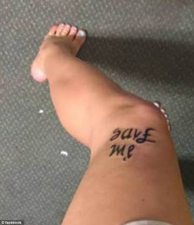When viewed from the top, the tattoo reads 'Save me' which Bekah believes shows the other side of struggling with a mental health problem
