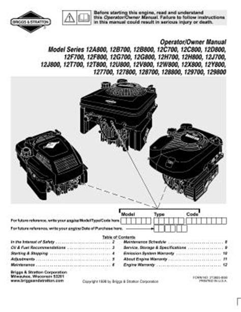 12U800 Briggs And Stratton Engine Manual