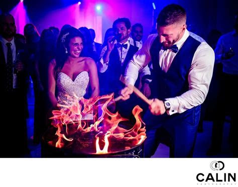 Bride and Groom and Flames   Chateau Le Parc Wedding