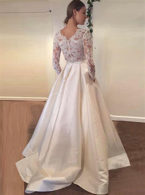 A Line Scalloped Edge Long Sleeves Satin Wedding Dress