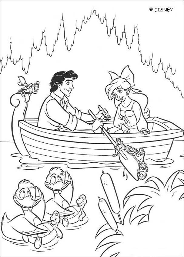 Ariel and prince eric on a boat coloring pages - Hellokids.com
