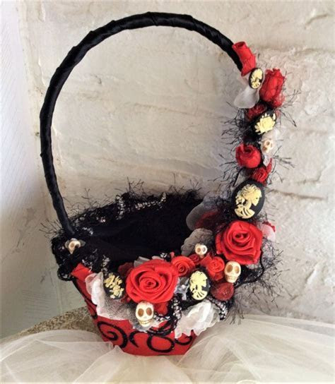 Gothic Wedding Flower Basket Flower Girls Basket for