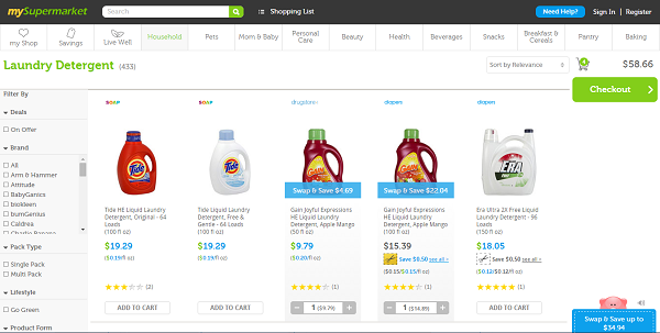 mySupermarket.com gathers groceries at the lowest prices from leading online stores.