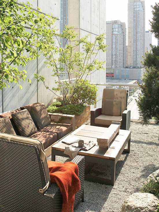 balcony and roof terrace design ideas rattan furniture