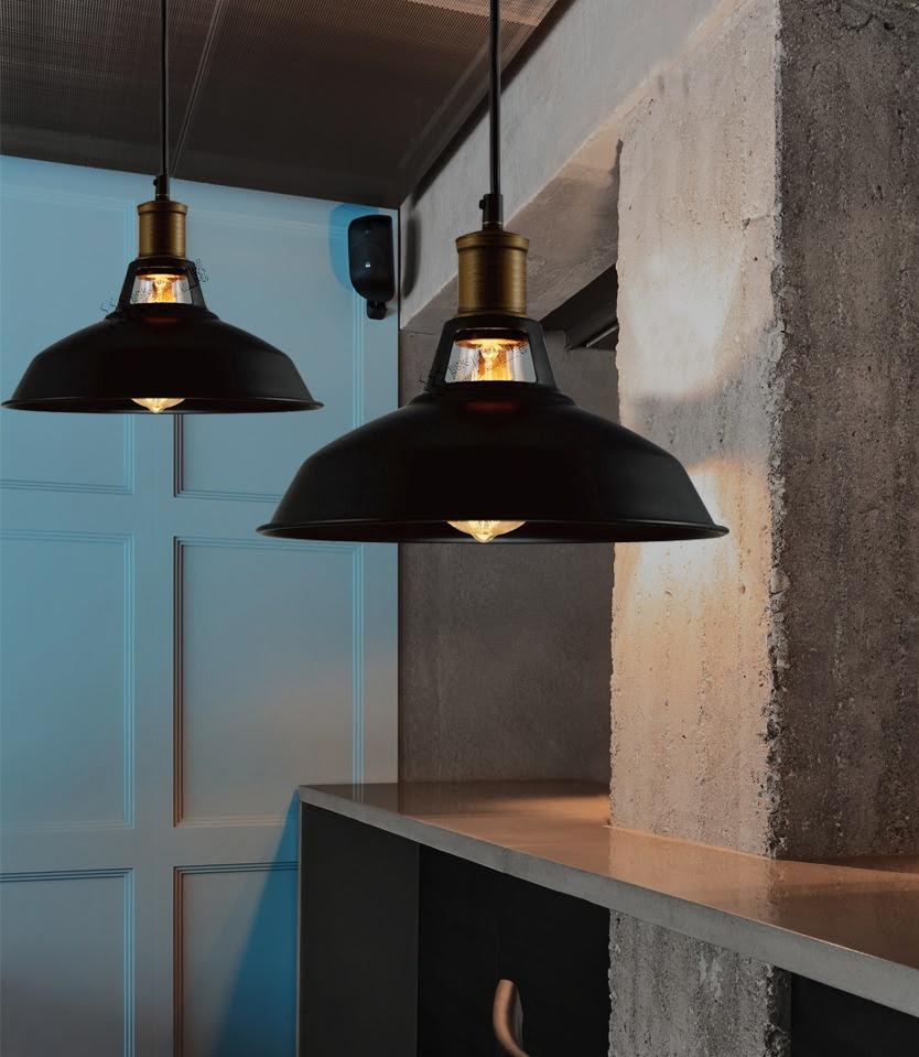 Industrial Retro Vintage Black Pendant Lamp Kitchen Bar Hanging Ceiling Light