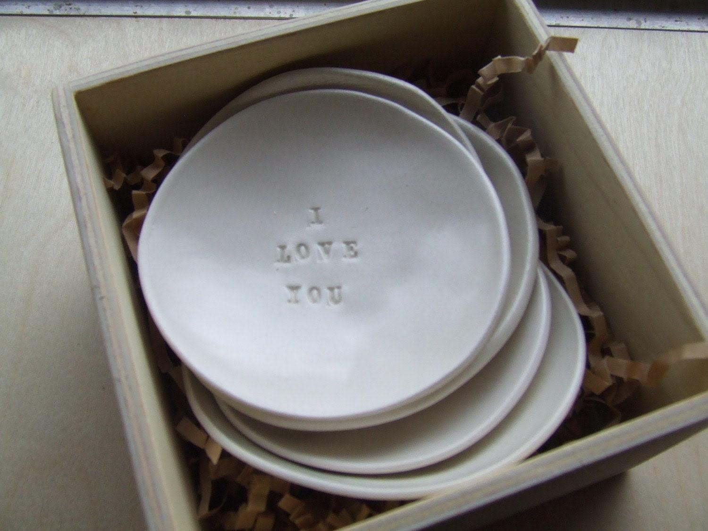 I LOVE YOU white ceramic tiny text bowl