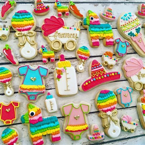 Fiesta Baby Shower Cookies   LARGE   Hayley Cakes and