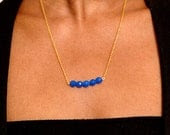 Opaque Cobalt Blue or Teal Facetted Beaded Necklace