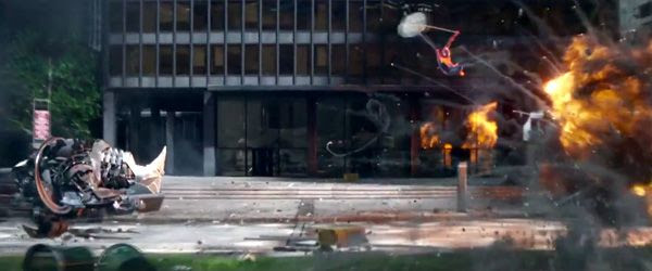 The Rhino and Spidey charge at each other during an explosive confrontation in THE AMAZING SPIDER-MAN 2.