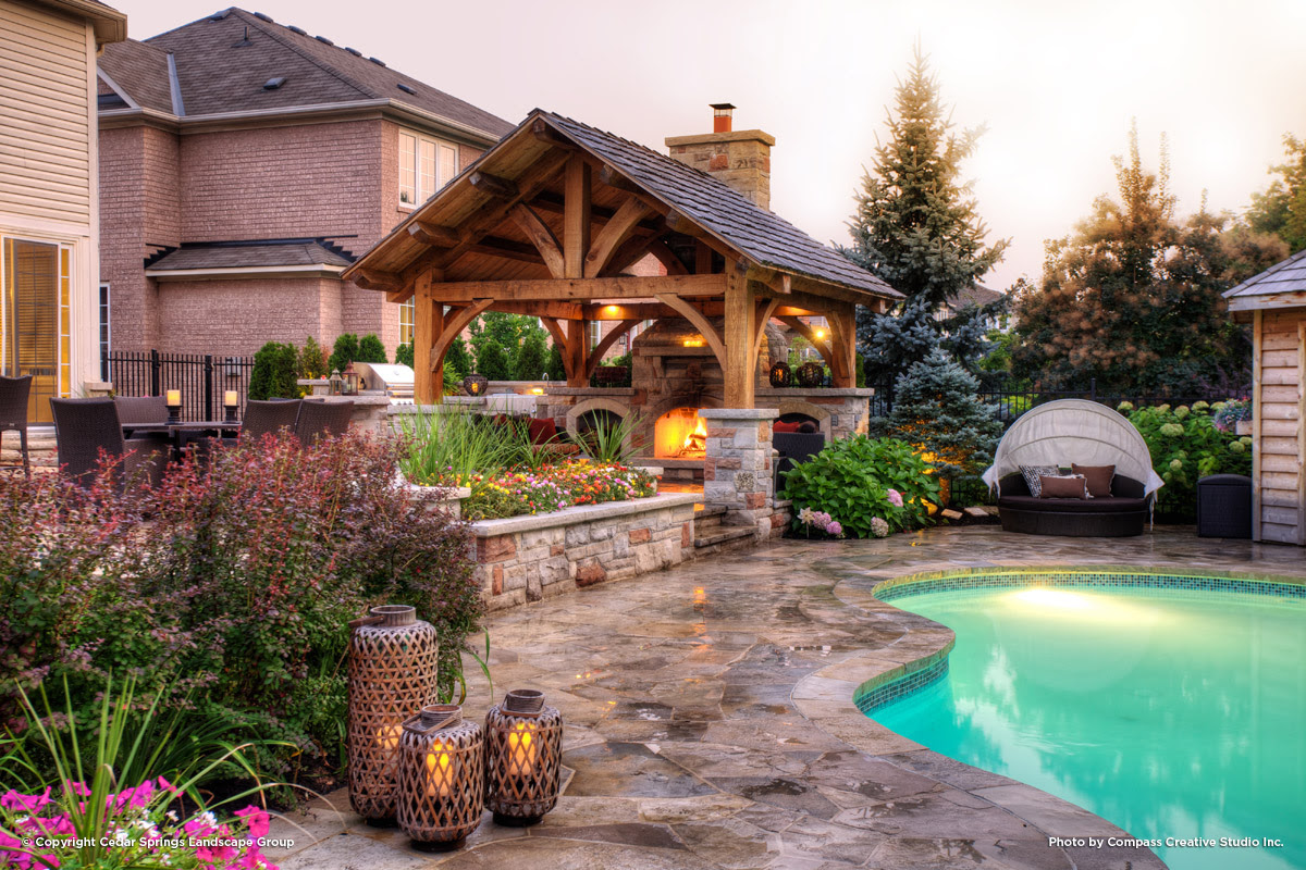 Back Yard Pool with Fireplace