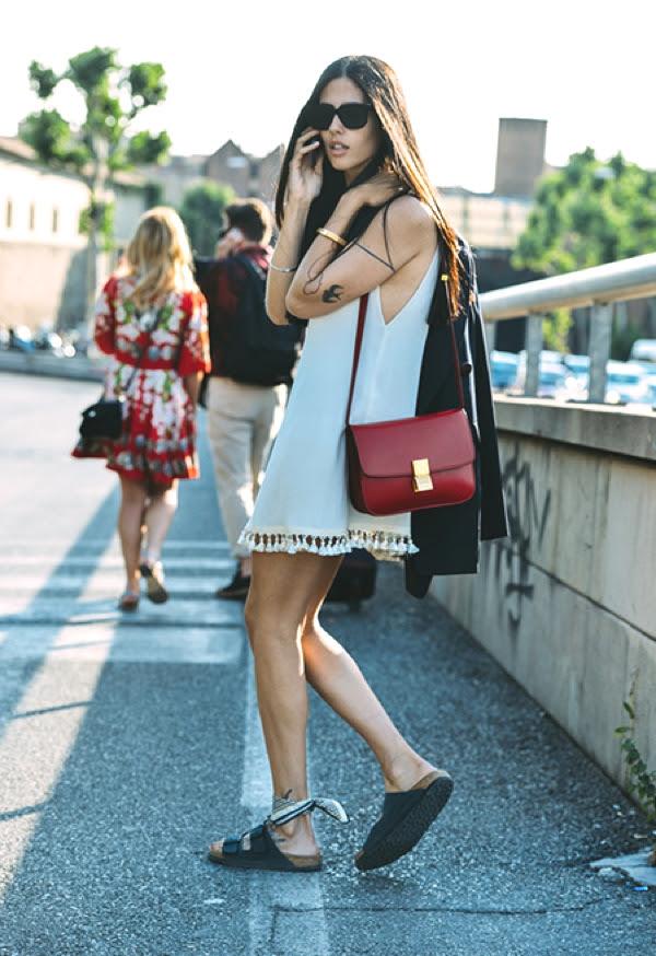 Celine bag, ankle scarf