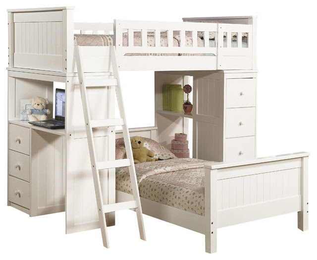 Safe Functional White Youth Twin Storage Loft Bunk Bed ...