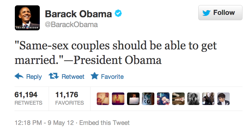 Barack Obama Quote About Same Sex Couples Rights Married Marriage