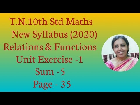 T.N.Class 10 Maths New Syllabus (2020) Relations and Functions Unit Exercise -1 Sum -5 (Page - 35)