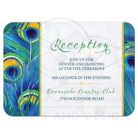 Peacock Feather Wedding Reception Card   Watercolor   Blue