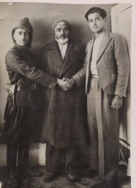 سه تن از رهبران کومله ژ.ک. از راست: عبدالرحمن رسولی، قاسم قادری قاضی، حسین فروهر