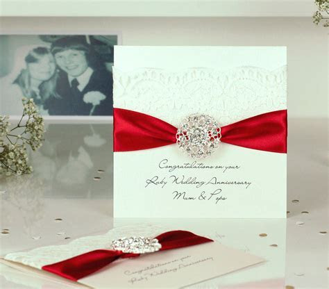 opulence ruby wedding personalised anniversary card by the