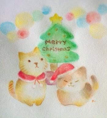 ナユのサバイ部屋 一日おくれの猫とクリスマスイラスト