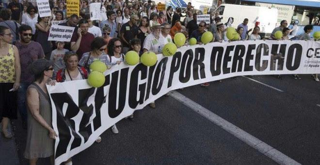 Un momento de la manifestación en Madrid, con el lema 'Basta de Excusas, queremos acoger ya!', celebrada el pasado 17 de junio de 2017 en Madrid.   FERNANDO ALVARADO