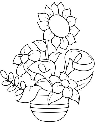 Dibujo De Girasol Y Callas Para Colorear Dibujos Para Colorear