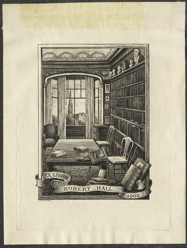 engraving of home library scene with bookshelf, table, window - bookplate