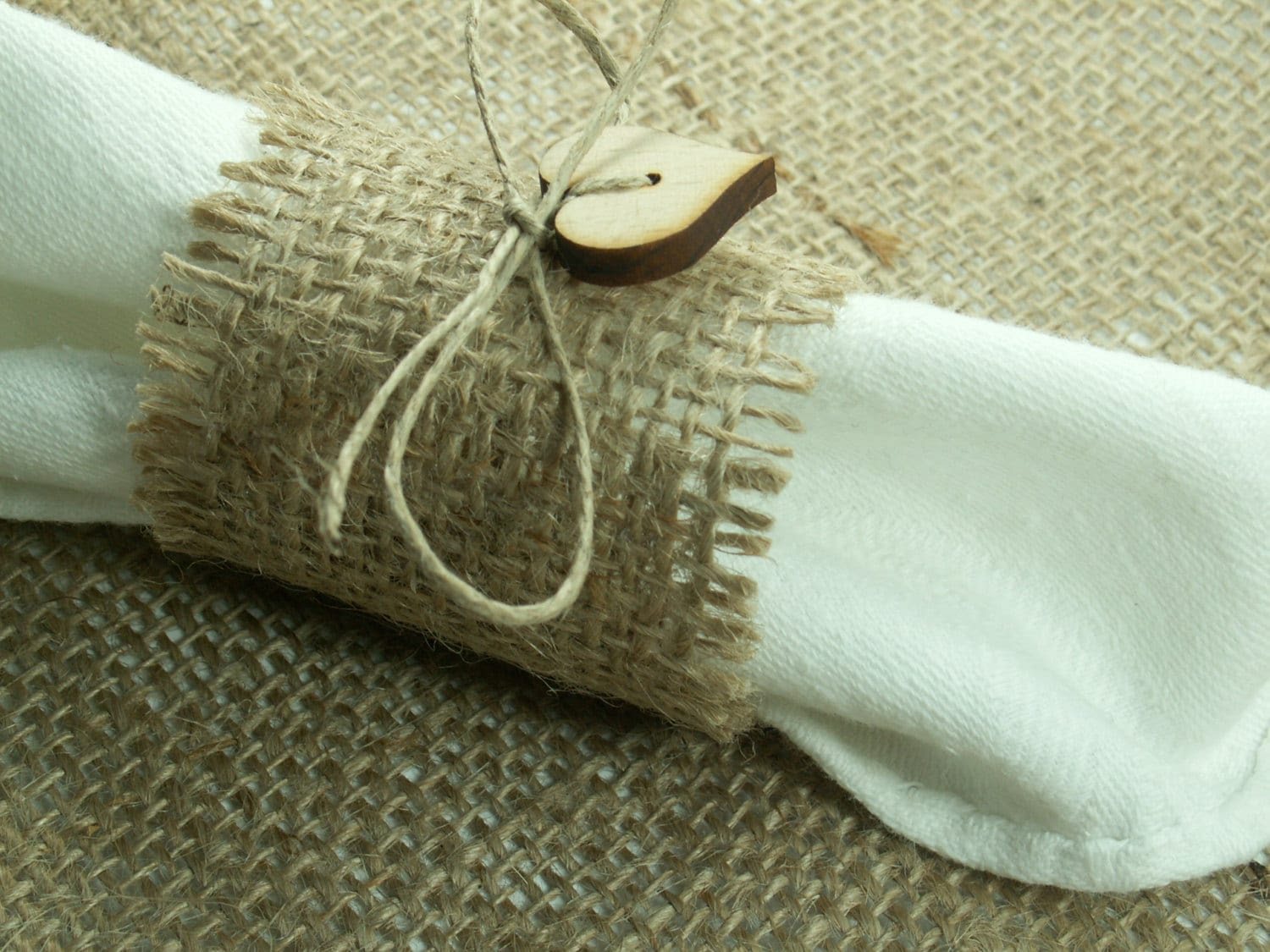 Rustic Style Rustic 130 Burlap Napkin Rings with Buttons and Twine , Wedding Decor , Country Wedding
