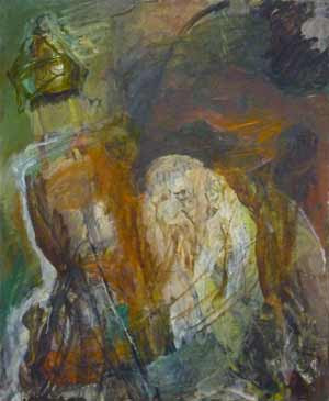 Rabbi with Torah (#6) (1995-2005), oil on canvas by Hyman Bloom. Courtesy White Box and Estate of Hyman Bloom.