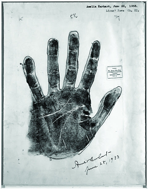 uncertaintimes: Amelia Earhart's palm print, June 28, 1933. Library of Congress Blog