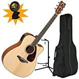 Yamaha FGX700SC Folk Cutaway A/E Guitar w/Deluxe Gig Bag, Guitar Stand, and Tuner