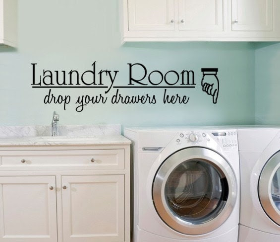 Vinyl WALL DECAL LARGE Laundry Room Drop Your by decorexpressions