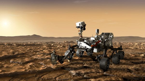 Another art concept of NASA's Mars 2020 rover studying the surface of the Red Planet.