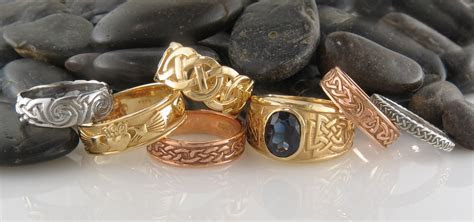 "Celtic Rings in Sterling Silver and 14K Gold tagged ""Gold"