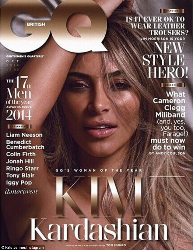 Kim Kardashian poses COMPLETELY naked for Britain's GQ magazine... and proud momager Kris Jenner couldn't wait to share it on Instagram