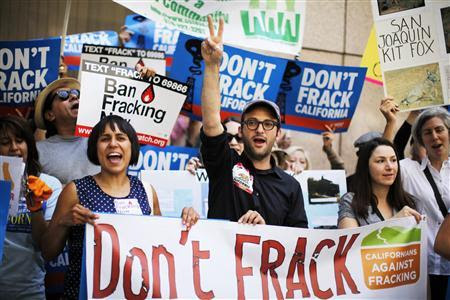 Filmmaker Josh Fox (C) joins a protest against fracking in California, in Los Angeles in this May 30, 2013 file photo. REUTERS-Lucy Nicholson-Files
