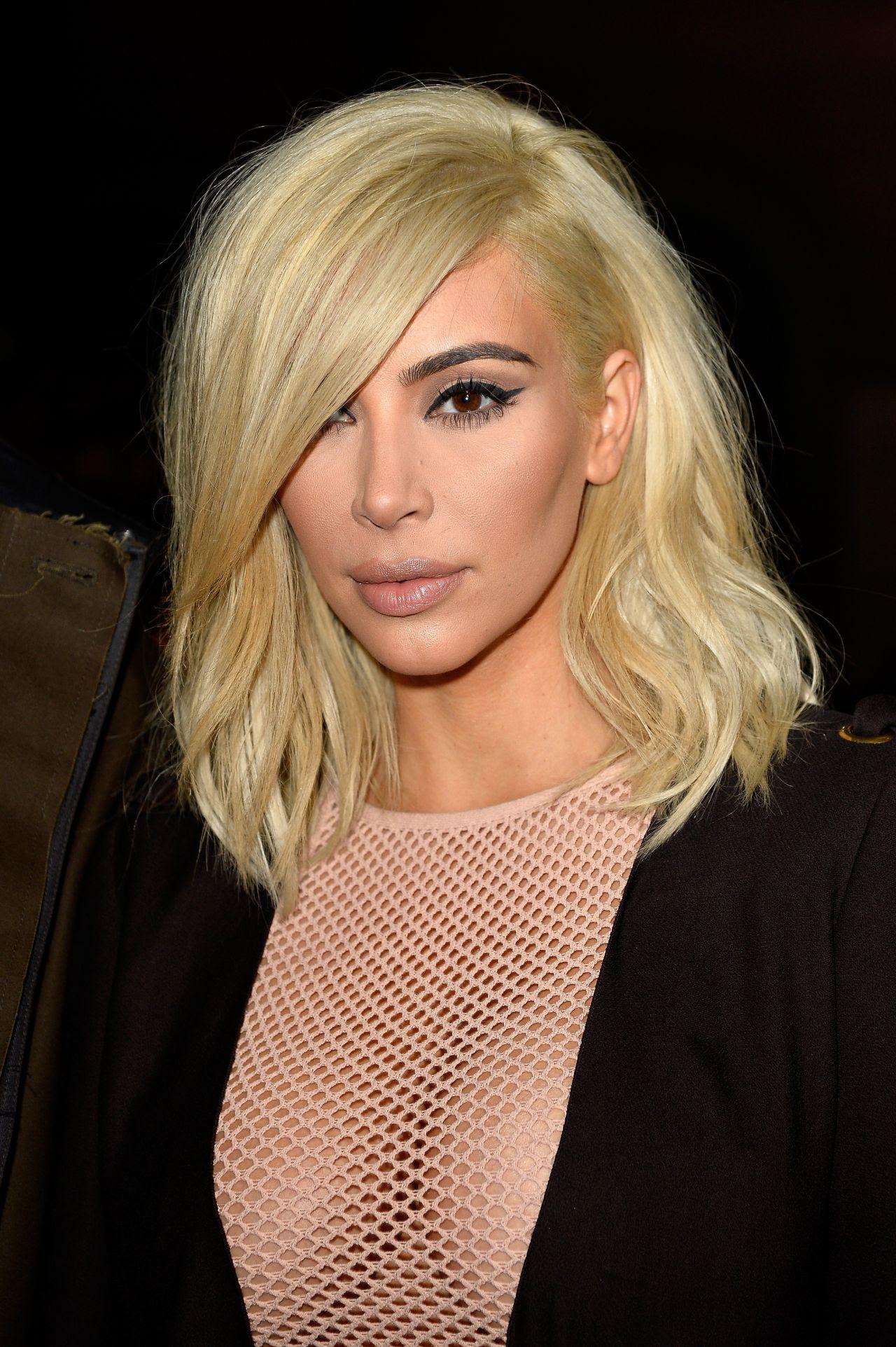 Kim Kardashian Is Blonde Now  Lanvin Fashion Show in Paris, March 2015