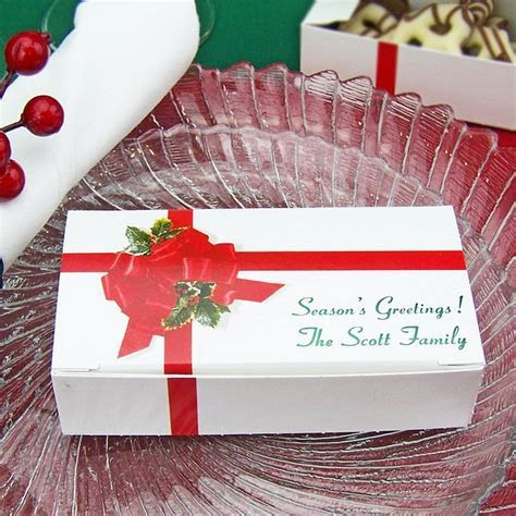 Candy Boxes   5 x 2 Ribbon & Holly Personalized   Christmas