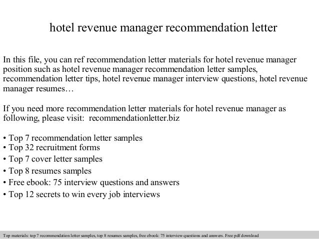 Hotel Revenue Manager Recommendation Letter