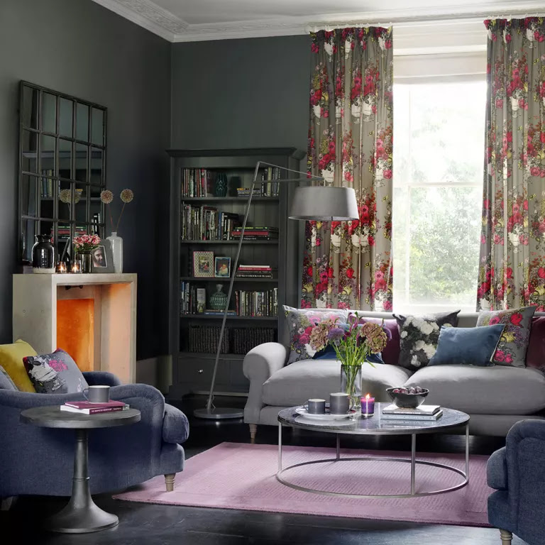 Grey living room ideas florals