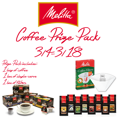 Enter the Melitta Coffee Prize Pack Giveaway. Ends 3/18