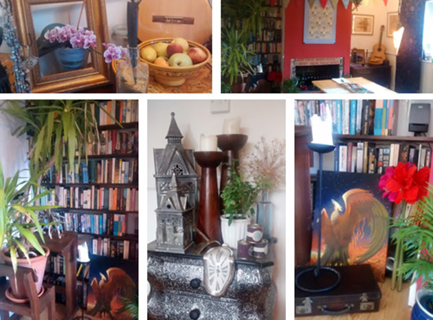 Collage of colourful decor for the magical realism workshop