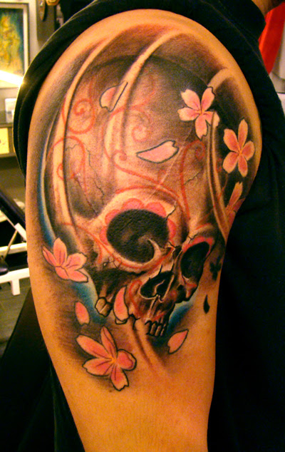 904atow Tattoos Of Skulls And Flowers